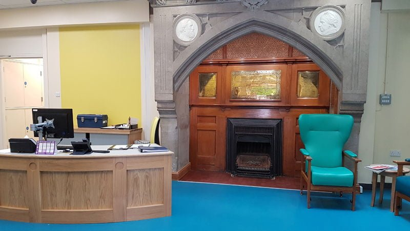 Newly refurbished reception area at the Hospital